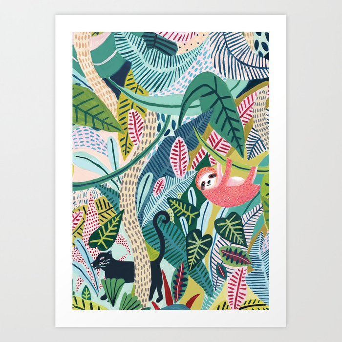 Jungle Sloth & Panther Pals Art Print