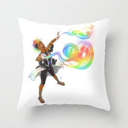 Rainbow Spell Caster Throw Pillow