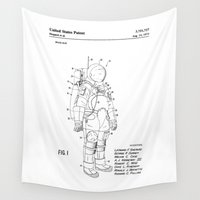 suit Wall Tapestries featuring NASA Space Suit Patent  by Elegant Chaos Gallery