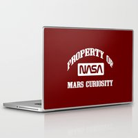 nasa Laptop & iPad Skins featuring Property of NASA Mars Curiosity Rover Athletic Wear White ink by RockatemanDesigns