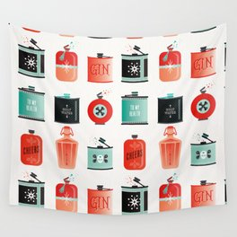Flask Collection – Red & Turquoise Palette Wall Tapestry