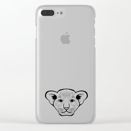 Black silhouette of a lion cub face. Lovely lion for pam, moms and toddlers, accessories. Clear iPhone Case