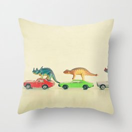 Dinosaurs Ride Cars Throw Pillow