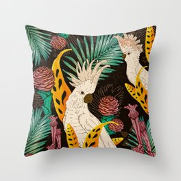 Tropical Cockatoos Throw Pillow