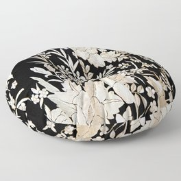 Black and White Flowers by Lika Ramati Floor Pillow