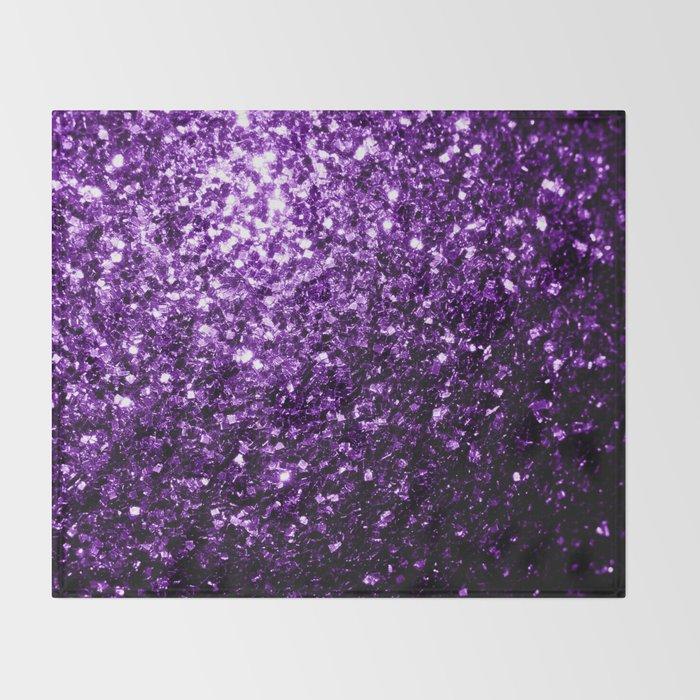 Beautiful Dark Purple glitter sparkles Throw Blanket