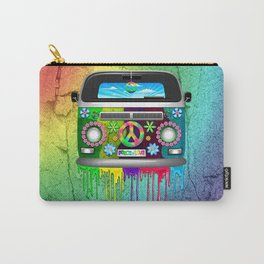Hippie Bus Van Dripping Rainbow Paint Carry-All Pouch
