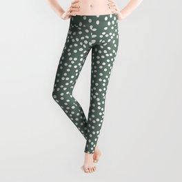 Dark Gray Green and White Polka Dot Pattern Leggings