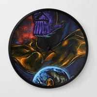 thanos Wall Clocks featuring Marvel Thanos Infinity Gauntlet by Adam Worley