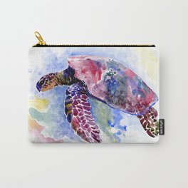 Sea Turtle , purple blue design, swimming sea turtle underwater beach scene Carry-All Pouch