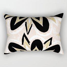 Modern black gold pink abstract floral pattern Rectangular Pillow