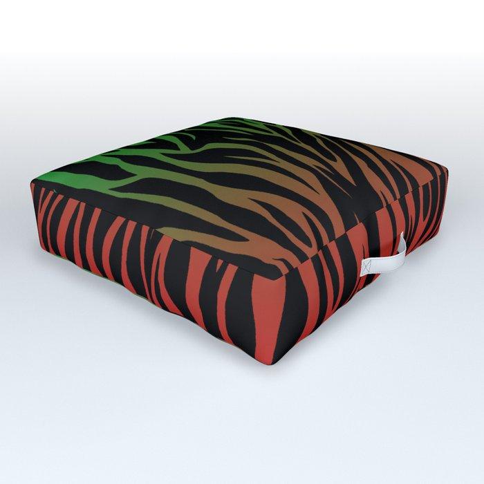 Green/Red Gradient Zebra Skin Outdoor Floor Cushion