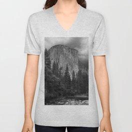 Yosemite National Park, El Capitan, Black and White Photography, Outdoors, Landscape, National Parks Unisex V-Neck