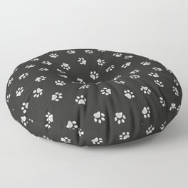 Doodle white paw print seamless fabric design pattern with black background Floor Pillow