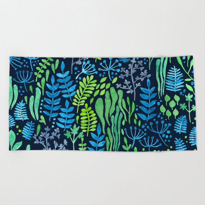 Watercolor floral doodles dark background Beach Towel