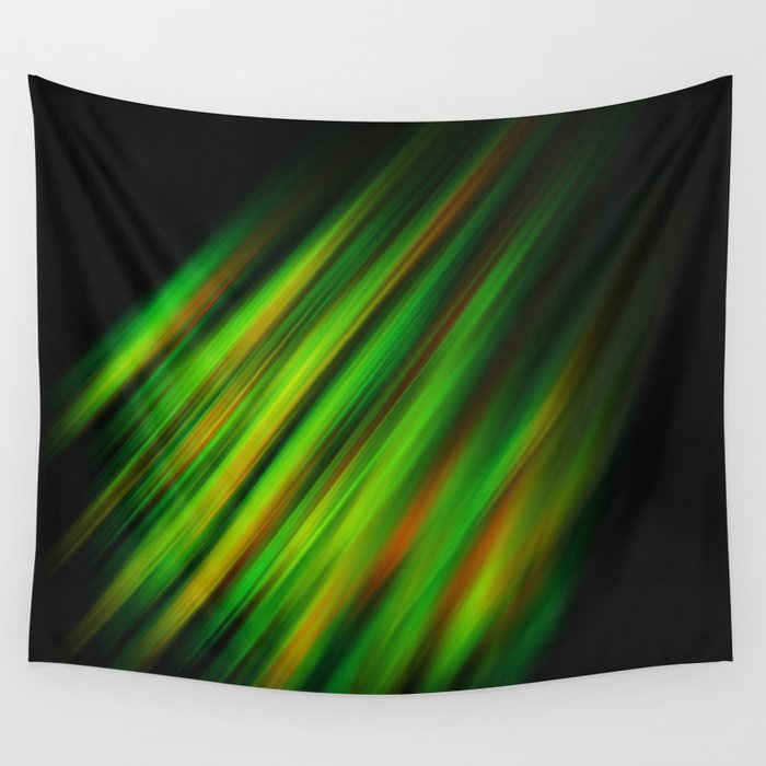 Colorful neon green brush strokes on dark gray Wall Tapestry
