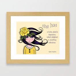 Whimsical Girl with Rose and Quote by Jane Austen Framed Art Print
