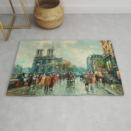 Notre-Dame Cathedral, City Streets of Paris by Antoine Blanchard Rug