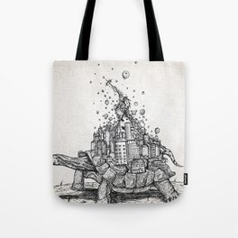 Title Tortoise Town Hes Content With A World On His ... Tote Bag