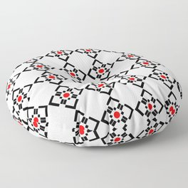 Symmetric patterns 149 red and black Floor Pillow