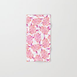 Hand painted pink coral black watercolor floral Hand & Bath Towel