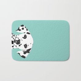 Dalmatian cute puppy dog black and white mint pastel gender neutral pet owner gifts love animals Bath Mat