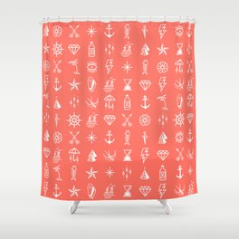 Uncle Knuckles - White on Living Coral Shower Curtain