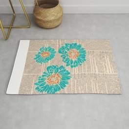 Turquoise Daisies Rug