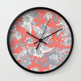 Silver Grey Passion Flowers on Coral Red Wall Clock