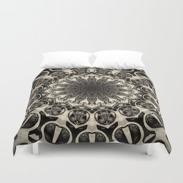 Neutral Abstract Black Ink Bohemian Mandala Duvet Cover
