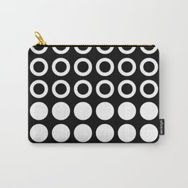 Mid Century Modern Circles And Dots Black & White Carry-All Pouch