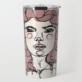 Curly Watercolor Girl Travel Mug