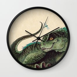 """""""Pinfeathers"""" by Amber Marine ~ T-Rex Dinosaur Watercolor illustration, (Copyright 2016) Wall Clock"""