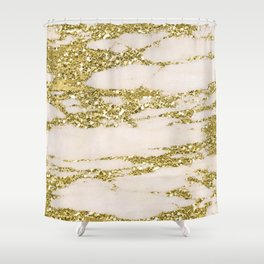 Marble - Gold Marble Glittery Light Pink and Yellow Gold Shower Curtain