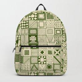 wolf geo green ivory Backpack