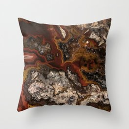 Twisted patterns of brown, red and beige stone Throw Pillow