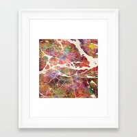 stockholm Framed Art Prints featuring Stockholm by MapMapMaps.Watercolors