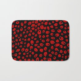 Ladybugs (Red on Black Variant) Bath Mat