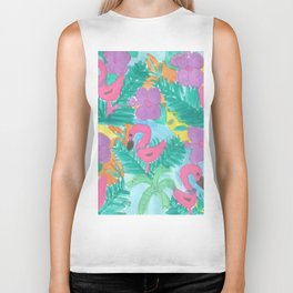 Tropical Flamingo Jungle Biker Tank