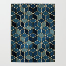 Shades Of Turquoise Green & Blue Cubes Pattern Poster