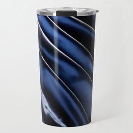 Dark blue glossy crumpled satin Travel Mug