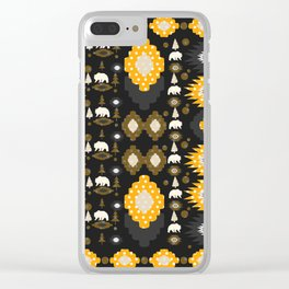 Ethnic winter pattern with little bears Clear iPhone Case