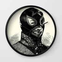 wrestling Wall Clocks featuring Wrestling mask 2 by DIVIDUS