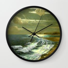 Moonlit Breaking Waves Along Dunes and Seashore with Lighthouse landscape painting by Julius Olsson Wall Clock