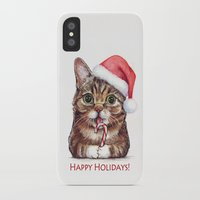 lil bub iPhone & iPod Cases featuring Lil Bub in Santa Hat with Candy Cane - Happy Holidays by Olechka