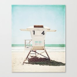 Lifeguard Stand, Beach Photography, San Diego California, Blue Aqua Seashore Ocean Summer Art Canvas Print