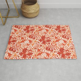 William Morris Iris and Lily, Mandarin Orange Rug