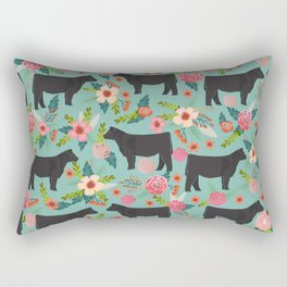 Show Steer cattle breed floral animal cow pattern cows florals farm gifts Rectangular Pillow