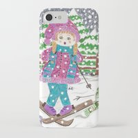 ski iPhone & iPod Cases featuring Ski girl by iCraftCafé