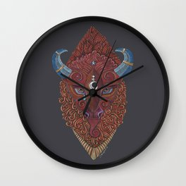 Bison Totem Wall Clock